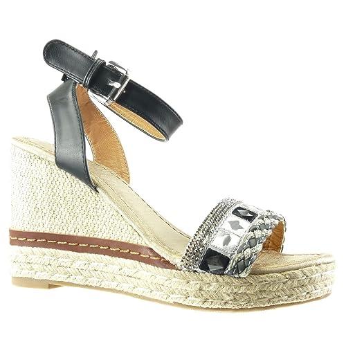 824725aea Angkorly Women's Fashion Shoes Sandals Espadrilles - Platform - Rhinestone  - Thong - Cord Wedge Platform