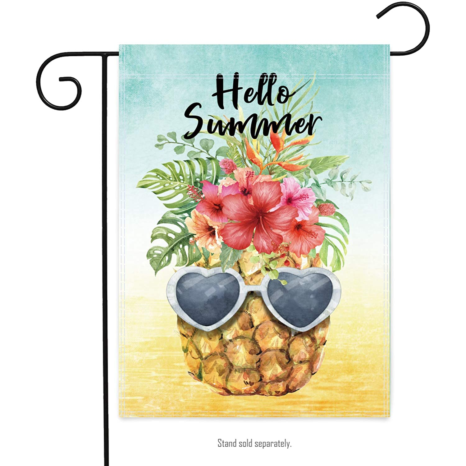 WDGG Hello Summer Pineapple Garden Flag 12×18 Inch Double Sided Vertical Yard Outdoor Decoration
