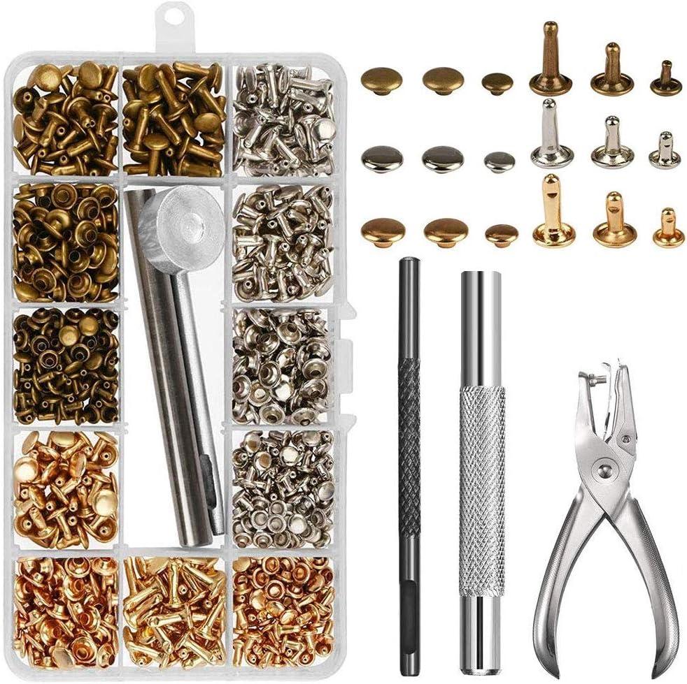 NACTECH 300 Set Remaches para Cuero 3 Tamaños RemachesPiel Metalicos Doble Tapa 6, 8, 12mm Remaches Tubulares Decorativos Para Cuero Reparación Cinturón Bolsos Fijación Dorados Bronce Plateado