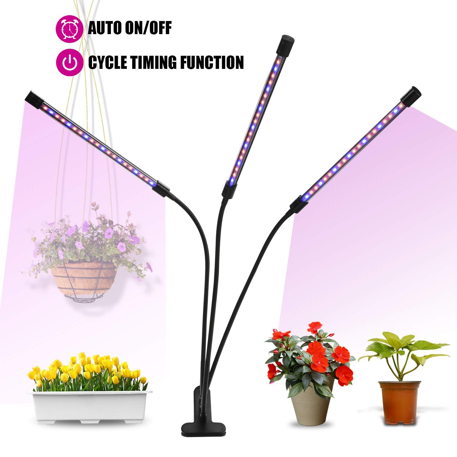 Grow Light, 30W Tri Head Timing LED Plant Grow Lights for Indoor Plants with Red Blue Spectrum, Professional Sunlight Grow Lamp for Seeds Starting Small House Plants Seedlings Growing, Adjustable