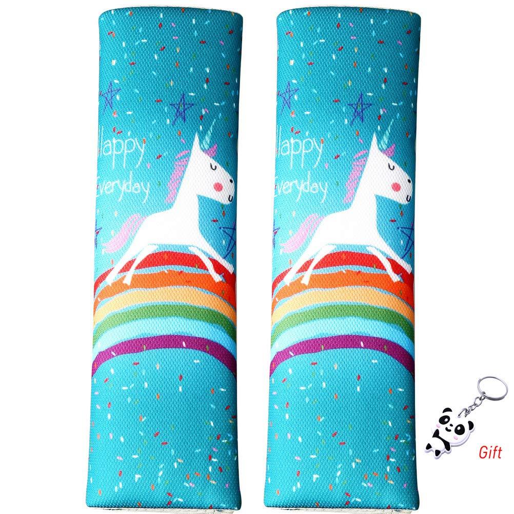 SUMAJU 2 Pieces Seat Belt Covers Cartoon Design Car Safety Seat Belt Shoulder Pad Soft Belt Neck Shoulder Cushion Pads for Car