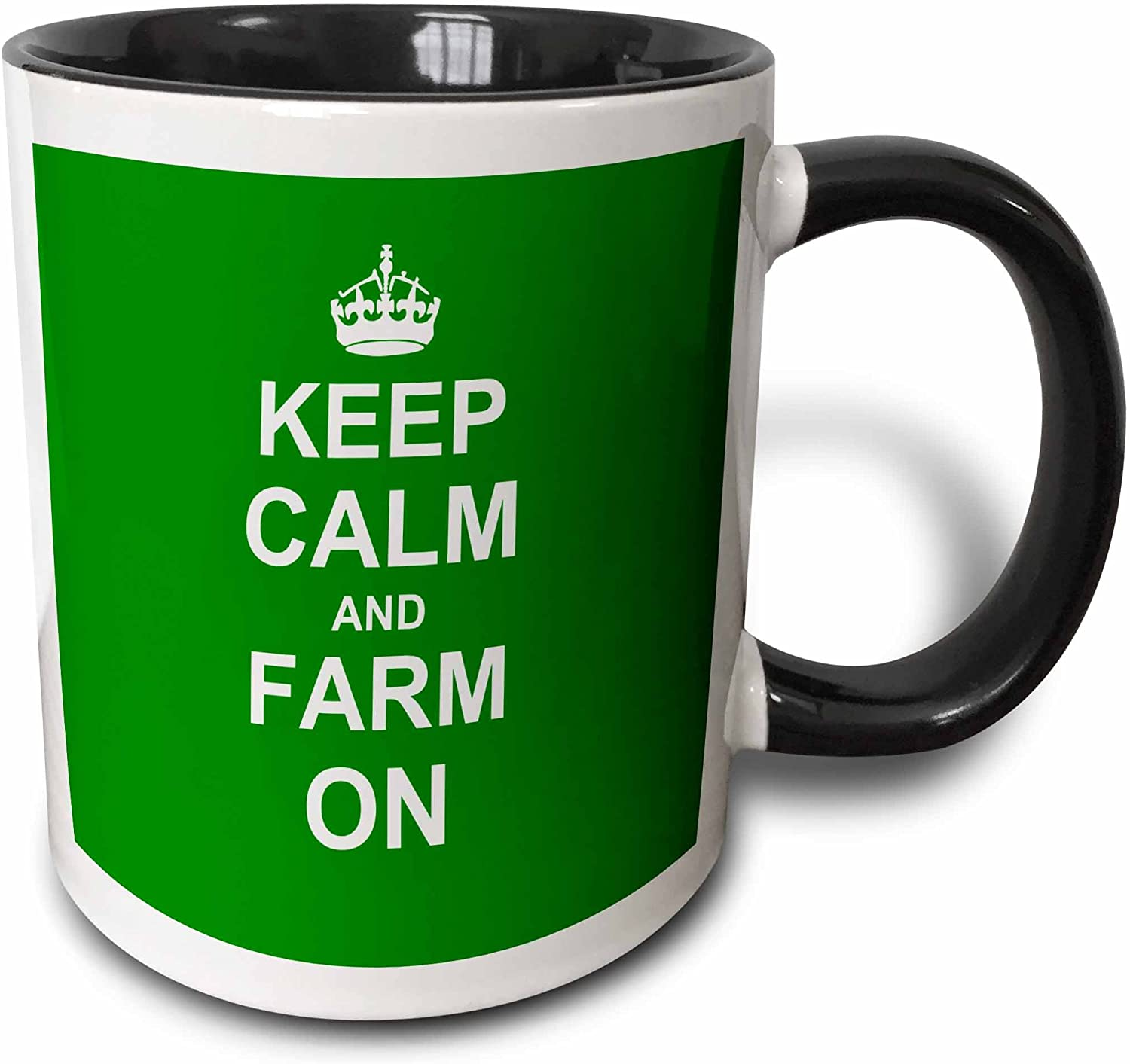 3dRose Keep Calm And Farm On Mug, 11 oz, Black