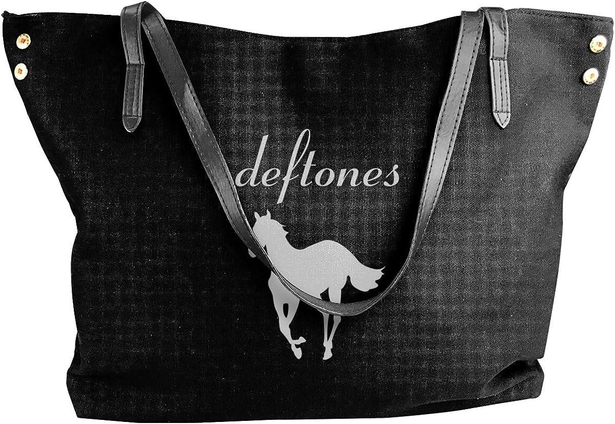 HELLONICE Deftones White Pony White Womens Canvas Shoulder Bag Handbags Tote Bag