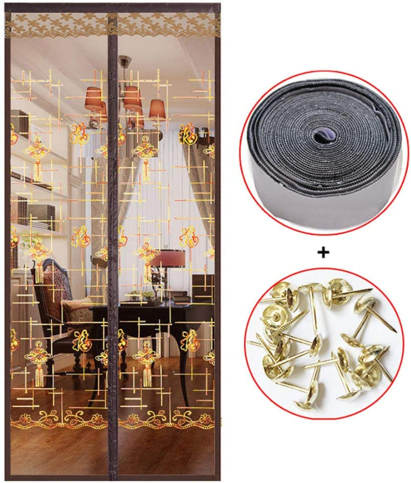 Transparente Sala de Estar balcón Comedor Cortina de Puerta Anti-Mosquito Mudo-Los 100X210CM_Color café