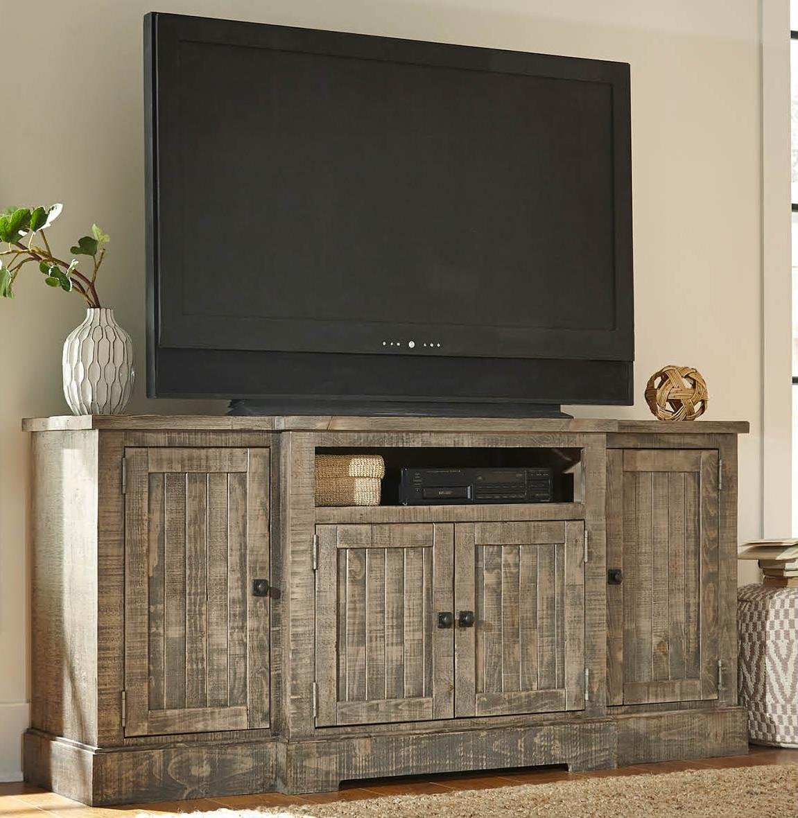 72 in. TV Console in Weathered Gray Finish