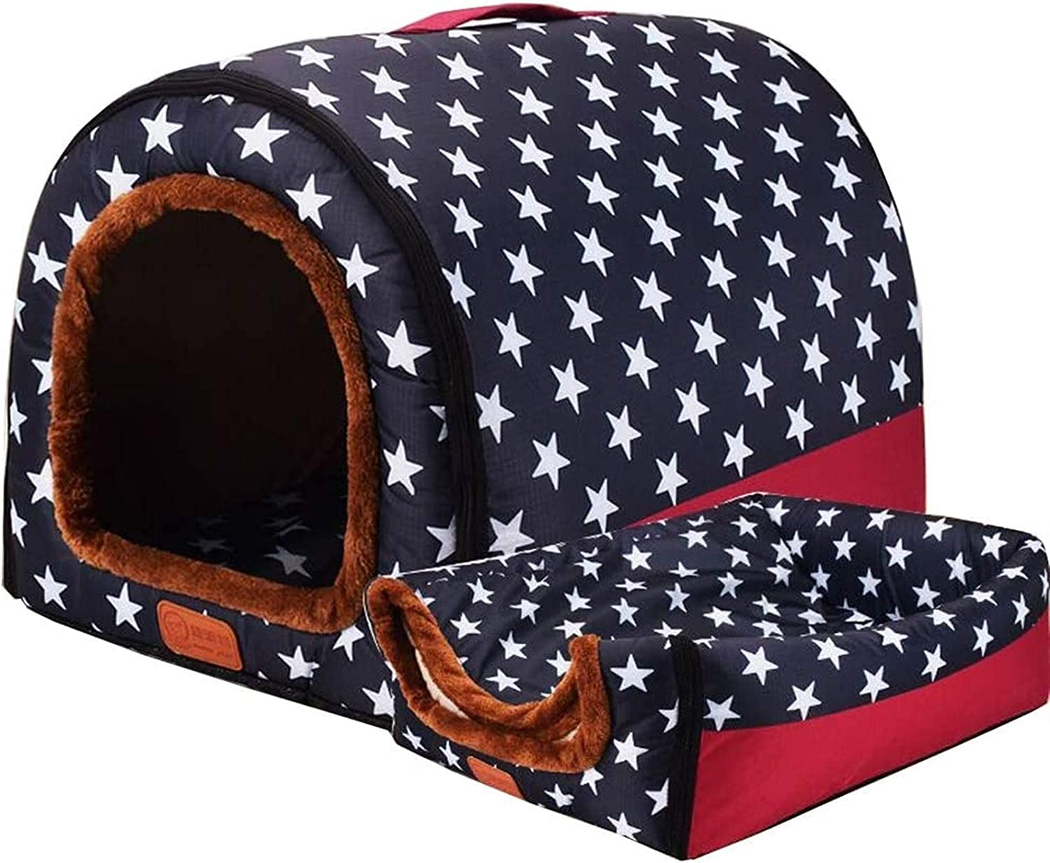 Winter Cozy Sleeping Bag For Small Medium Large Pet Abcoll 2 In 1 Cat Bed Cave Dog House Soft Cat Igloo Foldable Dog Bed Tent Nest With Detachable Cushion And Portable Handle
