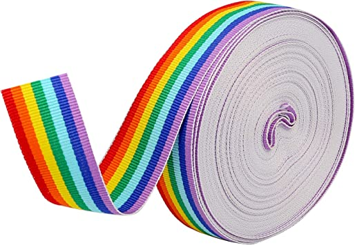 Konsait 25mm Rainbow Ribbon Grosgrain Stripe Double Face Polyester Ribbon for Crafts DIY Sewing Accessories Hairbow Gift Boxes Wrapping Wedding Party Birthday Festival Decoration,20M