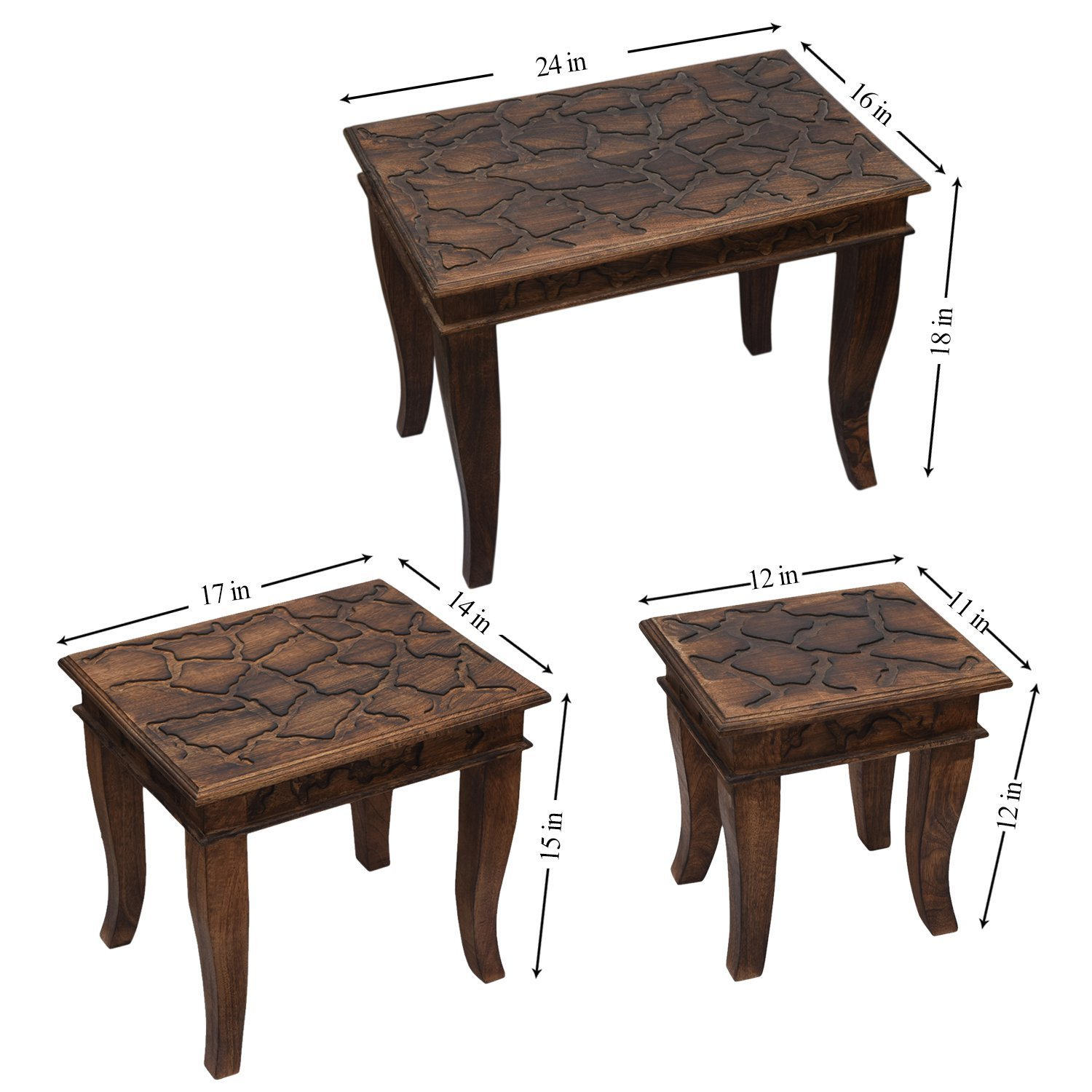 Store Indya Set of 3 Wooden Nesting Tables Stackable Sitting Stools Hand Carved with Distressed Carvings and Rustic Finish Home Kids Nursery Room Furniture Decor