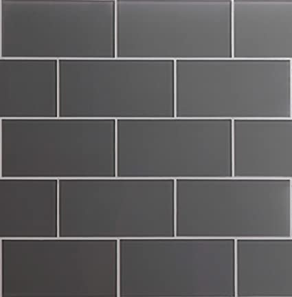 Glass Subway Backsplash Tile Kolors Series in Dark Gray for Kitchen and  Bathroom by WS Tiles - WST-02C - 40 Tiles (3\