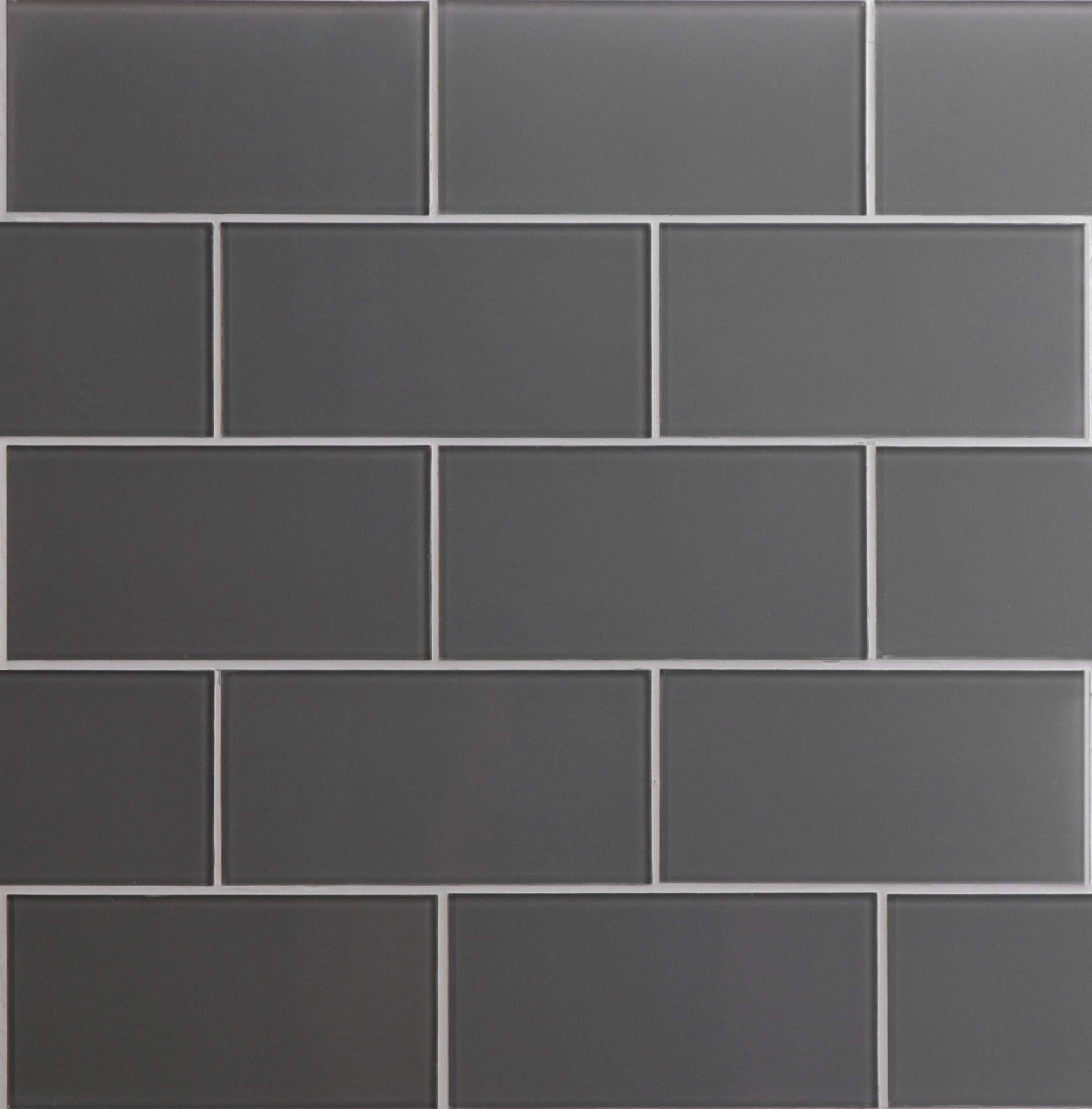 Glass Subway Backsplash Tile Kolors Series in Dark Gray for Kitchen and Bathroom by WS Tiles - WST-02C - 40 Tiles (3'' x 6'' Mosaic 5 SqFt, Dark Gray)