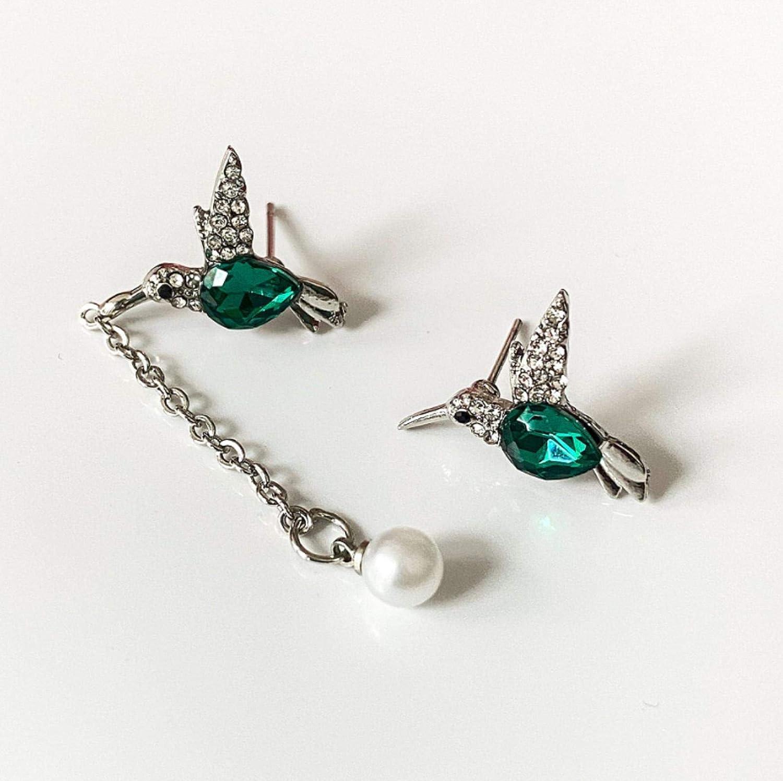 ZHUANQIAN Pendientes de Perla de Borla de colibrí, Pendientes Diamante de Creativo, Earrings de Cristal de Irregular, Pendientes de Engarce de Metal de Moda, Joyería Regalo para Mujer, 2 Pares