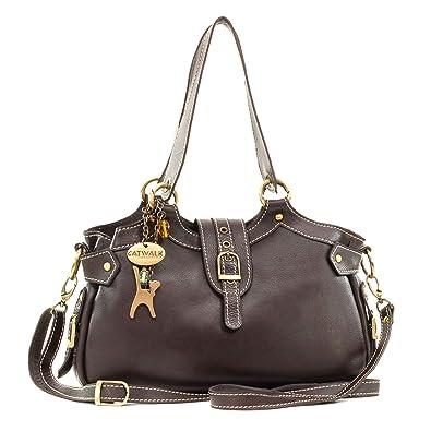 3e33400d2260b Catwalk Collection Handbags - Leder - Umhängetasche Schultertasche -  Handtasche mit Schultergurt - NICOLE -