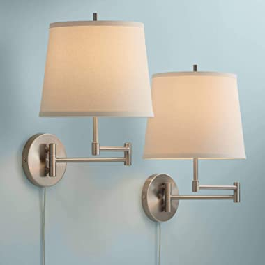 Oray Modern Swing Arm Wall Lamp Set of 2 Brushed Nickel Off White Shade for Bedroom Living Room Reading - 360 Lighting