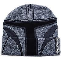 Mandalorian Star Wars Young Men's Knit Helmet Beanie Hat Cap Grey