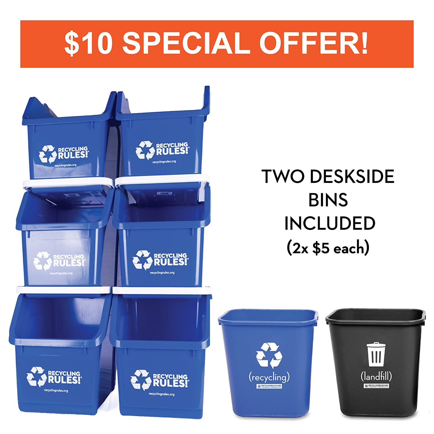 6 Pack of Bins - Blue Stackable Recycling Bin Container with Handle 6 Gallon + 2 Deskside Bins