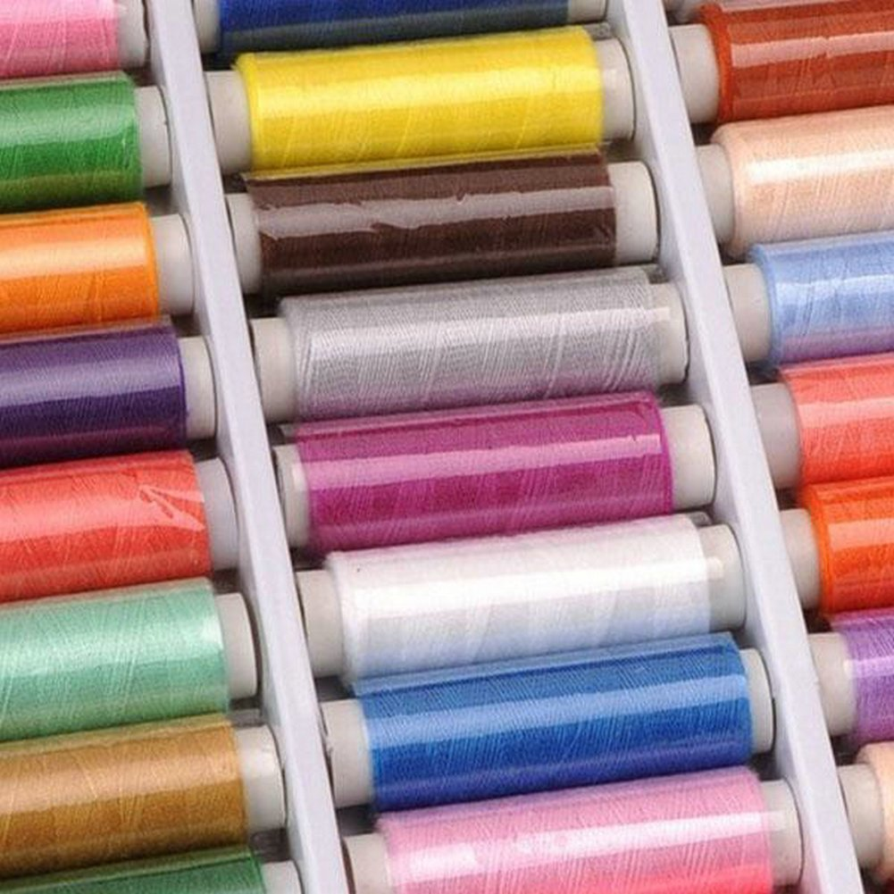 OFKP/® Pack Of 39 Spools Rainbow Assorted Colour Colors Polyester Sewing Thread Box Kit Set Ideal For Quilting Stitching Machine Sewing Hand Sewing