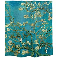 Ofat Home Almond Blossoms Shower Curtain Set with Rings, Upgraded Weighted Fabric, No Liner Needed, 72 x 72 in