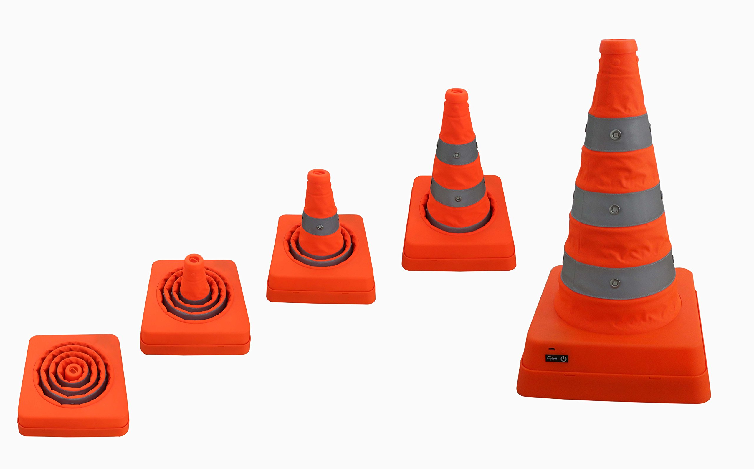 Safety Cones, Portable Traffic Cones with Nighttime LED Lights Multipurpose Reflective Collapsible Easy Storage, 18 Inch
