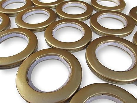 10 x dorado anillas para cortinas con ojales para cortinas con ojales bajo nivel de ruido