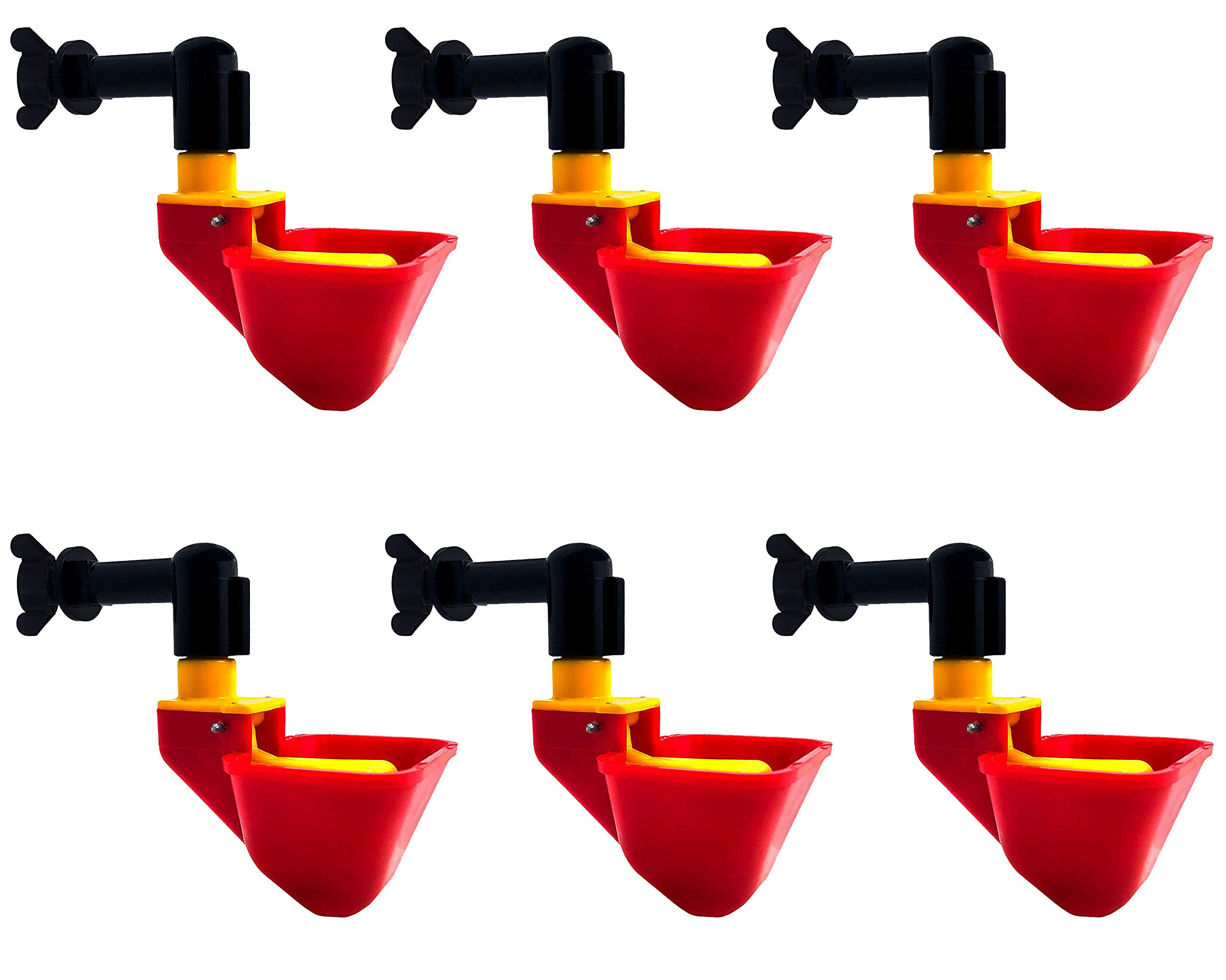 Cruzadel 6 Pack - NO PECK Chicken Waterer Automatic Refill Poultry Drinker Cups Float Type (Mounting Hardware Included) by Cruzadel