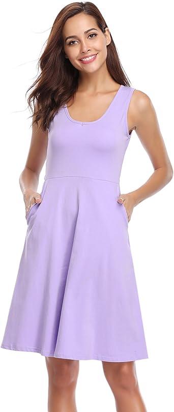 Hawiton Vestido Mujer Verano Pijama Corto Camisón Algodón Sin Manga Ropa de Mujer Vestidos Casual y Elegante 2018, Morado: Amazon.es: Ropa y accesorios