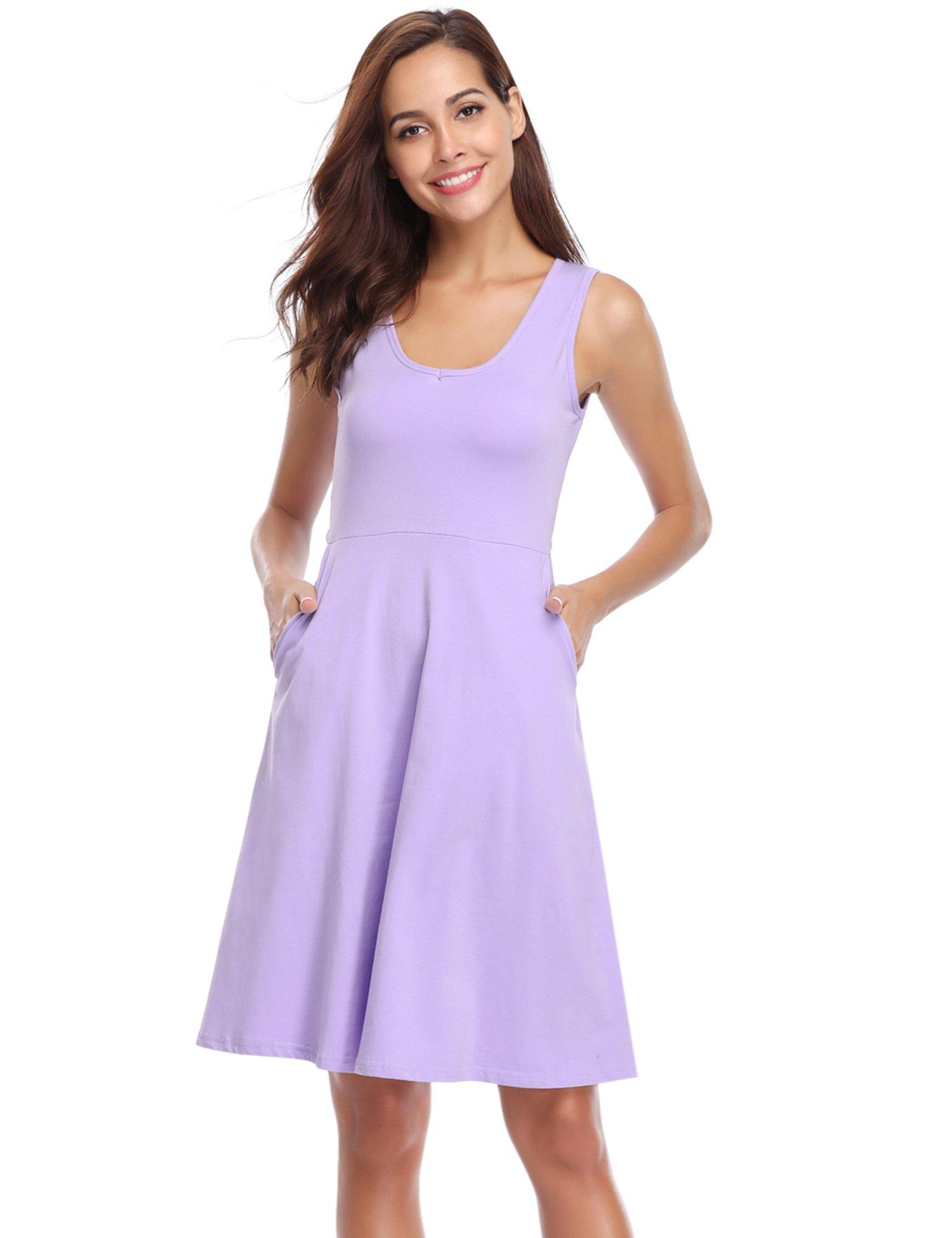 81c6b0df6311a8 Hawiton Damen Kleid Strandkleid Knielang T Shirt Kleid Casual Freizeitkleid  Sommerkleid Ärmlos product image