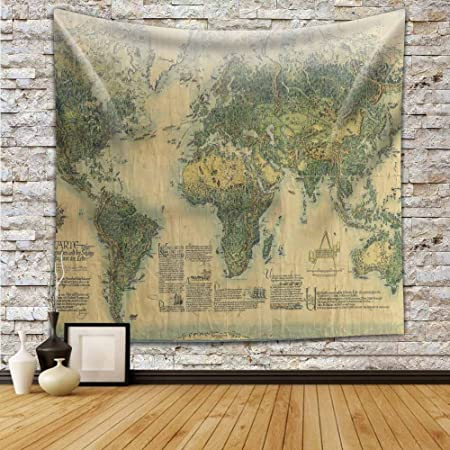 Ancient world map wall tapestry hanging polyester fabric wall art ancient world map wall tapestry hanging polyester fabric wall art tapestries home decor tapestry 59x90 gumiabroncs Images