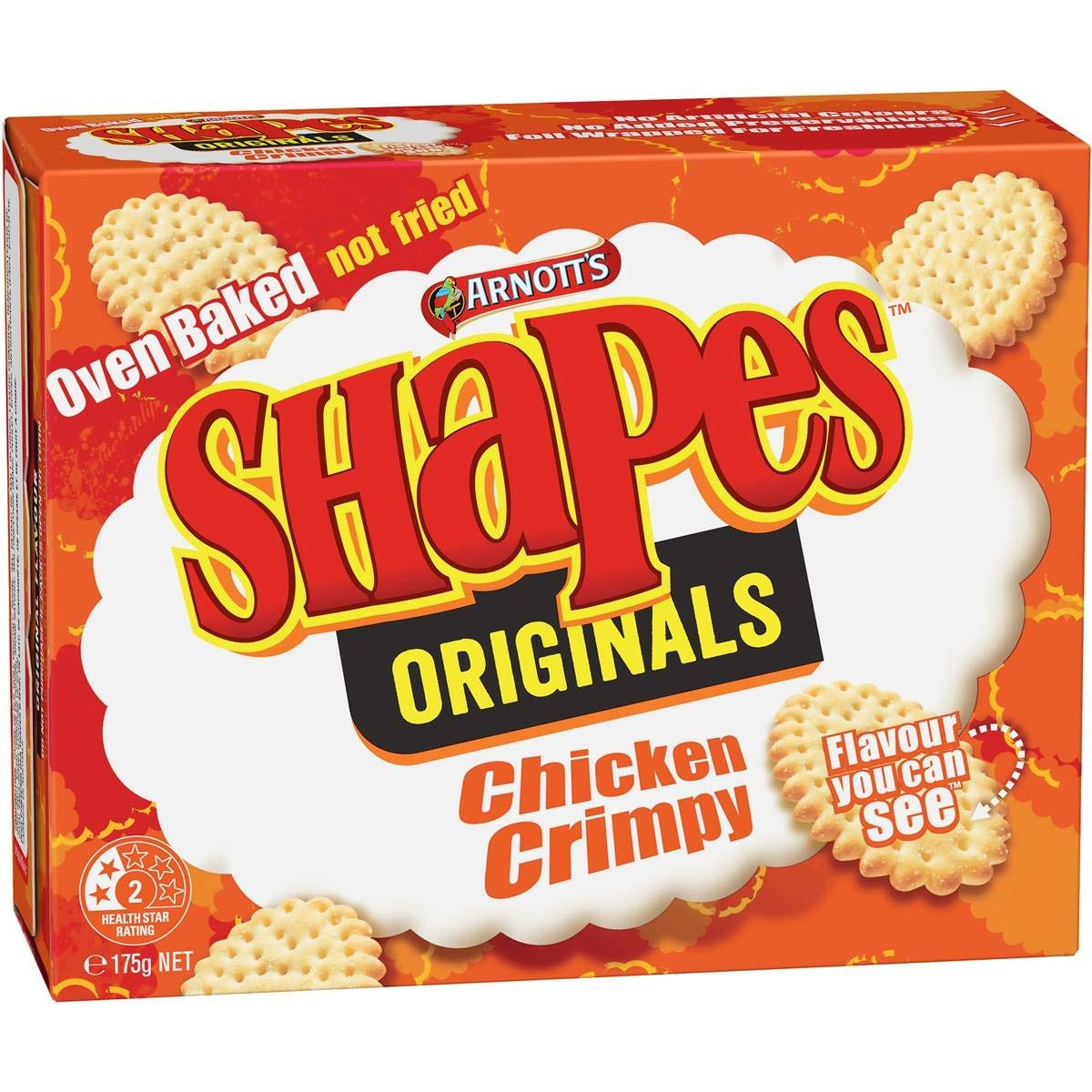 Australian Arnott's Shapes Crackers Crimpy Chicken 175g (2 Pack)