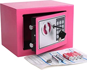 Electronic Deluxe Digital Security Safe Box Keypad Lock Home Office Hotel Business Jewelry Gun Cash Use Storage (Pink)