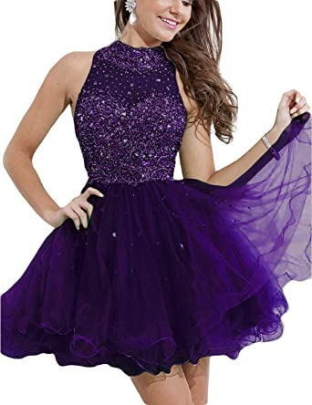 LMBRIDAL Womens Short Beading Prom Dress A Line High Neck Homecoming Dress Purple Custom