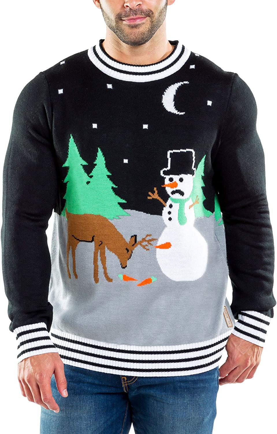 Tipsy Elves Classic Holiday Characters Ugly Christmas Sweaters for Men - Funny Guys Pullovers