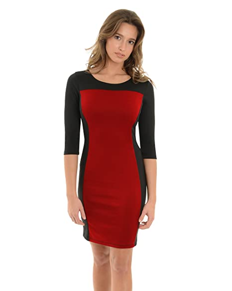 Avital Womens Red Black Color Block Dress 3 4 Sleeves Scoop Neck Sizes   Small 0b15249070