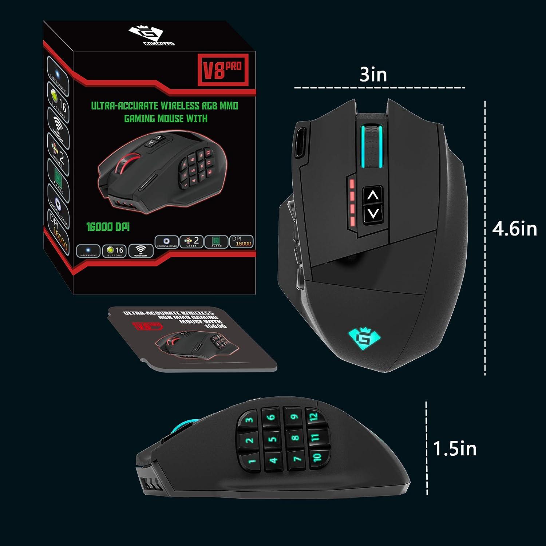 16 botones programables iluminaci/ón RGB crom/ática sensor /óptico de 16,000 DPI Rat/ón inal/ámbrico para juegos Gamspeed V8 Pro RGB MMO sin retraso tecnolog/ía de transmisi/ón de 2.4 GHz