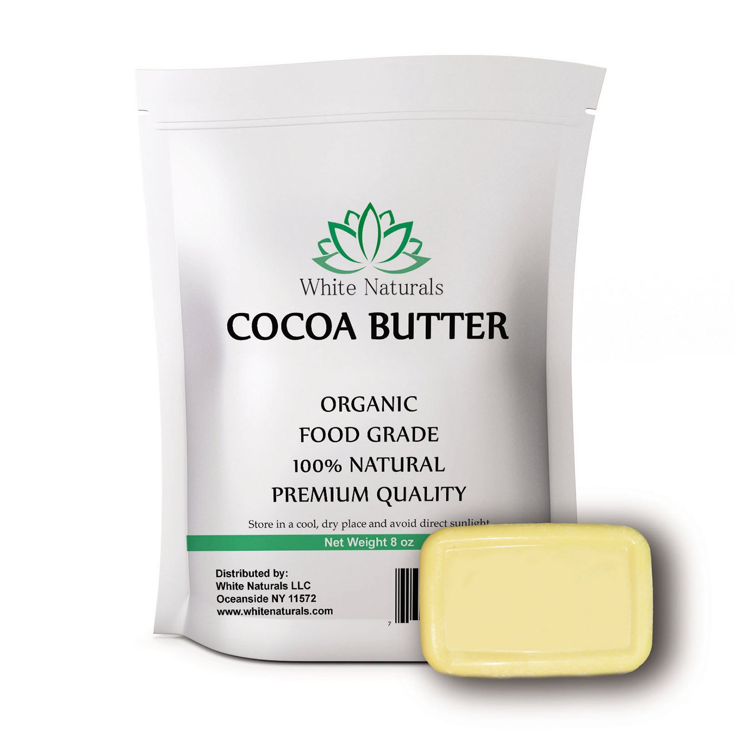 Organic Food Grade Cocoa Butter 8oz ,Unrefined, Raw, 100% Pure, Natural - For DIY Recipes, Body Butters, Soap Making, Lotion, Shampoo, Lip Balm By White Naturals