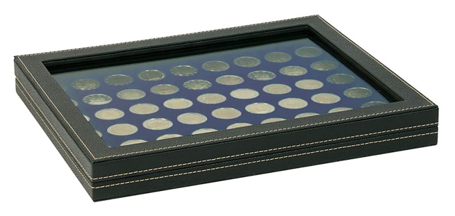 Lindner 2367-2154ME NERA M Plus Coin Case with a Dark Blue Insert with 54 Round Compartments. Suitable for Coins with Oslash; of 25,75 mm, e.g. 2 Euro Coins.