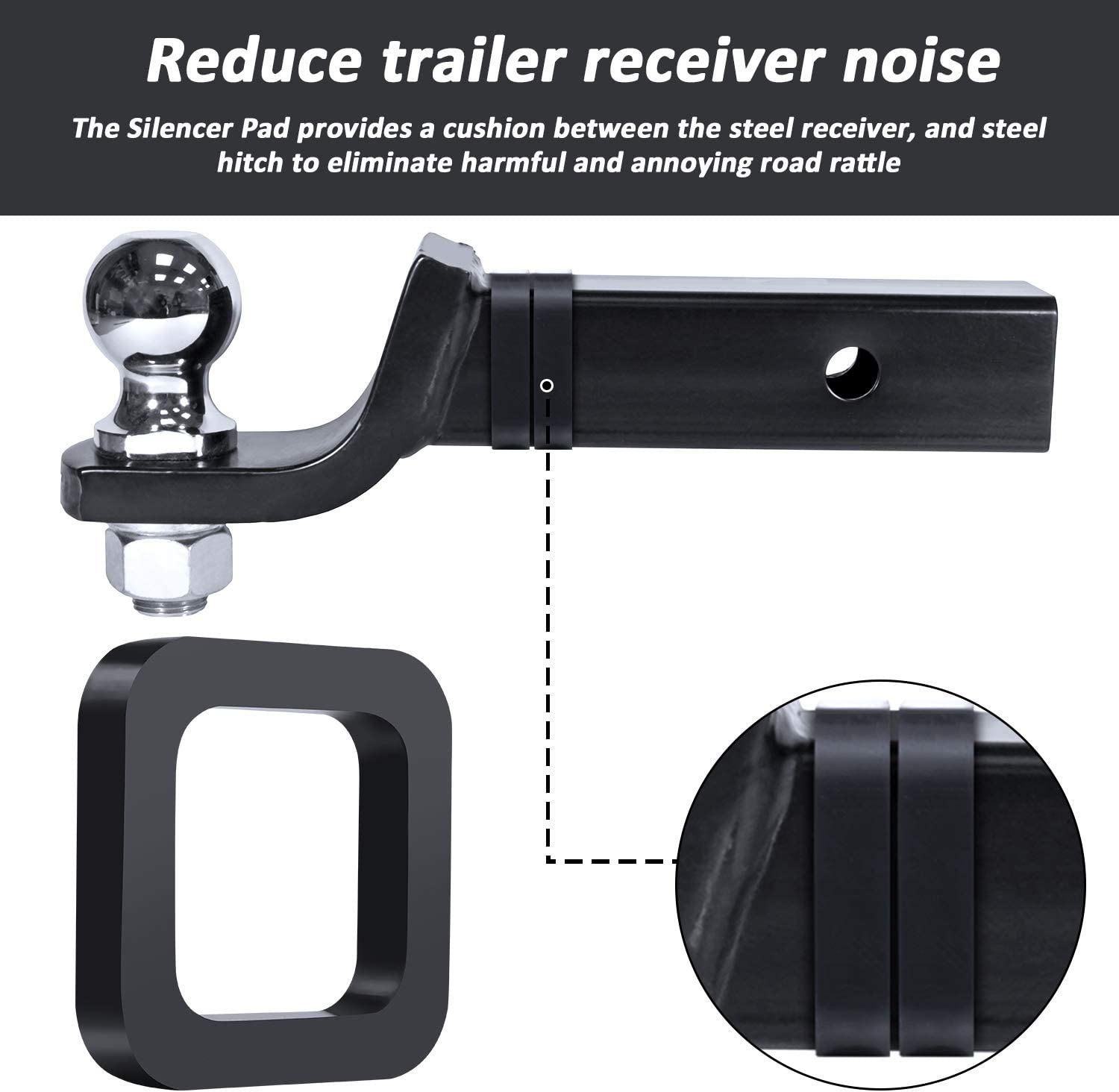 DEDC 4 Pieces 2 Inch Hitch Receiver Silencer Pads,Pads for Adjustable Ball Mounts Provide Cushion Between Receivers and Tow Hitches for Any 2 inch Trailer Hitch Receiver
