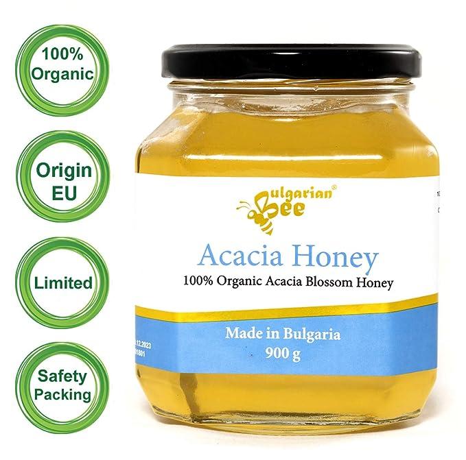 900 g Miel en flor Acacia orgánica, Certificado Bio, sin antibióticos, sin azúcar, sin calentar, sin pasteurizar, crudo, miel real BulgarianBee®
