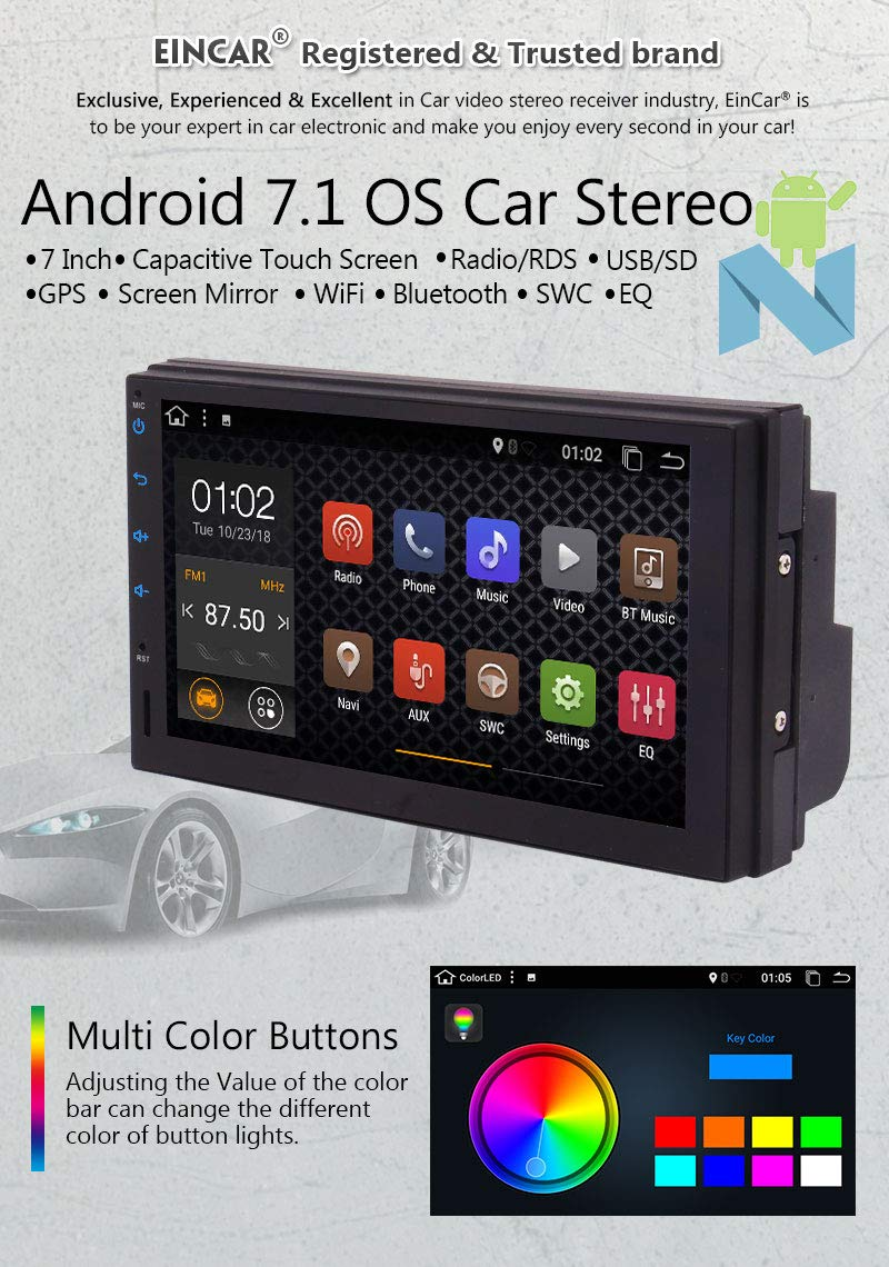 Android 7.1 Double Din Car Stereo Car Radio Audio EINCAR 7Inch Touch Screen Android Head Unit Quad-Core GPS Navigation Support Bluetooth//WiFi//3G//4G//USB//SD//DVR//CAM-IN with Rear Camera