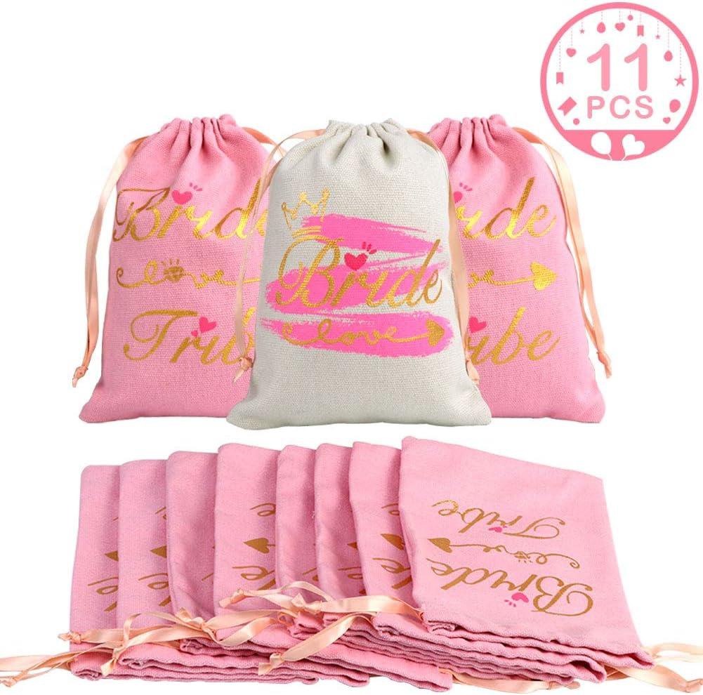AerWo 10 bolsas de regalo para dama de honor + 1 bolsa de despedida de soltera para novia, con cordón de algodón para despedida de soltera