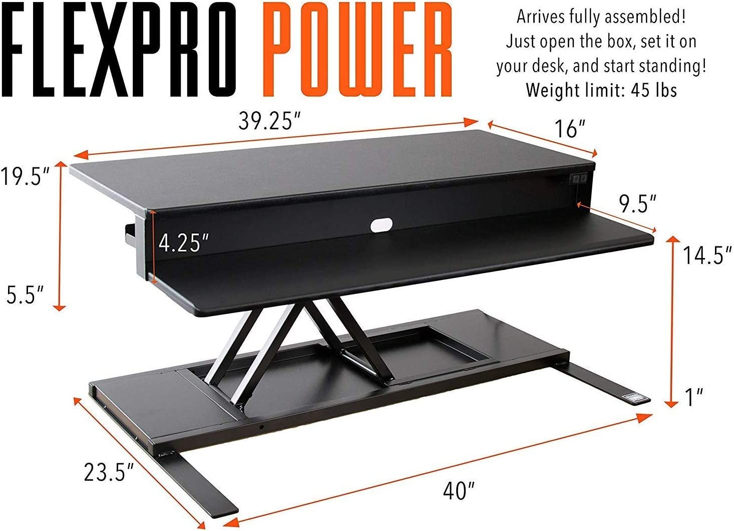 FlexPro Power 40 Inch Desk Converter Black