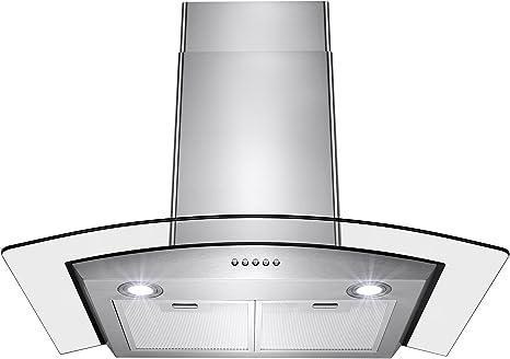 Perfetto - Campana de montaje en pared convertible para cocina y baño, de acero inoxidable con LED, controles de empuje y vidrio templado: Amazon.es: Grandes electrodomésticos