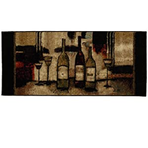 Mohawk Home New Wave Wine And Glasses Printed Rug, 1'8x3'9, Brown