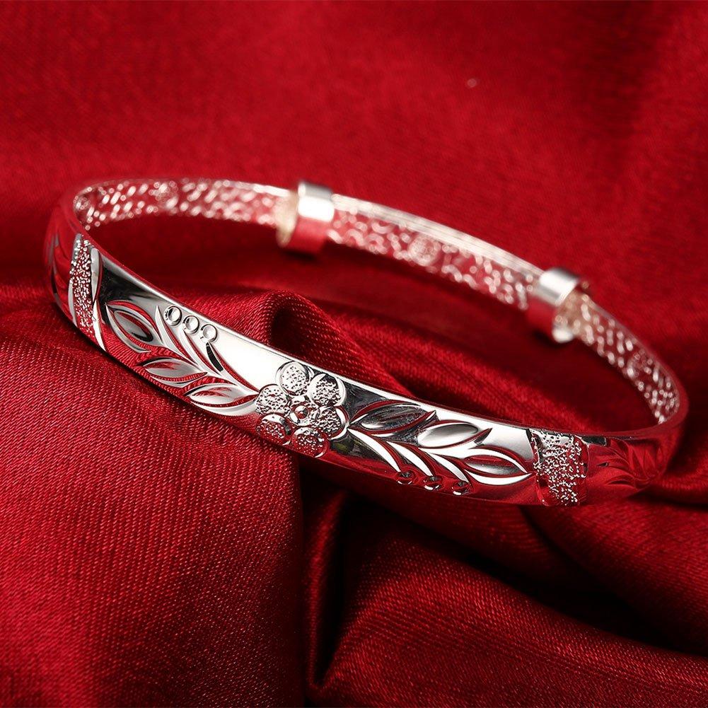 Lingduan Carved Flower Animals Sterling Silver Plated Cuff Bracelet Adjustable bracelet jewelry