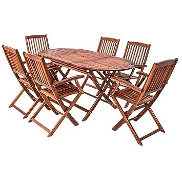 Amazon De 7 Teilige Sitzgruppe 6 Stuhle 1 Tisch Gartenmobel Holz