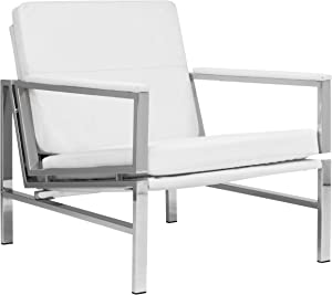 Studio Designs Home Atlas Accent Arms, Modern Chair, Chrome/White Bonded Leather
