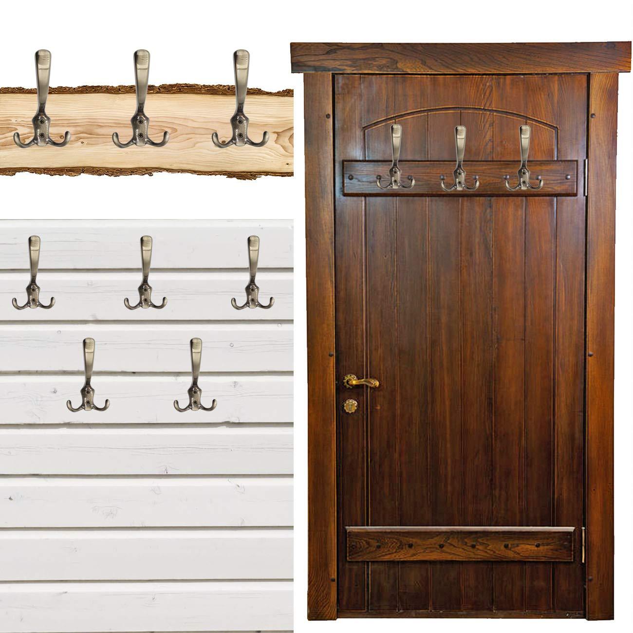 Messing Antik Optik 3x Garderoben-Haken f/ür Garderoben Wand-Bretter FUXXER/® 120 x 75 mm // 3er Set