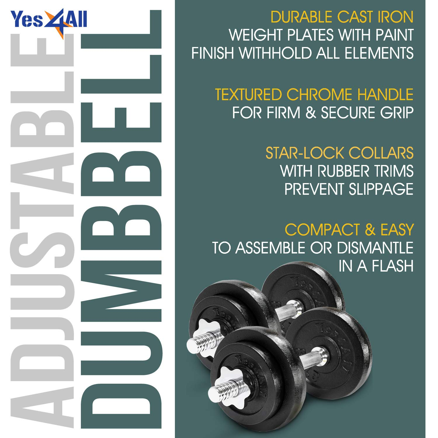 105 to 200 lbs Yes4All Adjustable Dumbbells 40 60 50 52.5