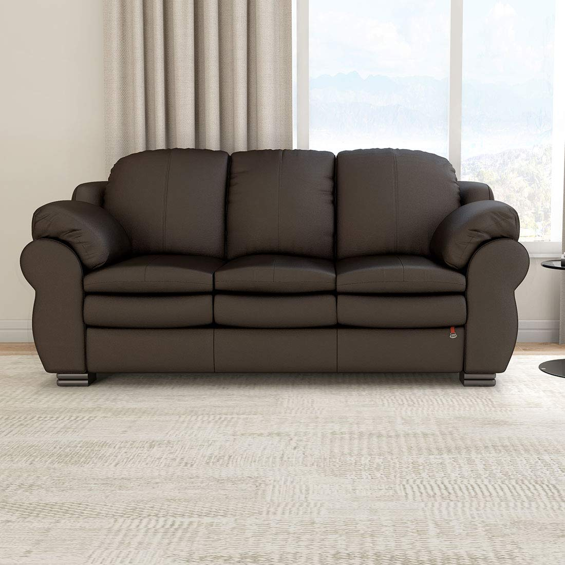 Durian Berry Leatherette Three Seater Sofa (Brown)