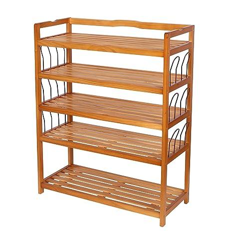 HOMFA 5 Tier Wooden Shoe Shelf Storage Organizer Entryway Shoe Rack, Home  Shelf Storage