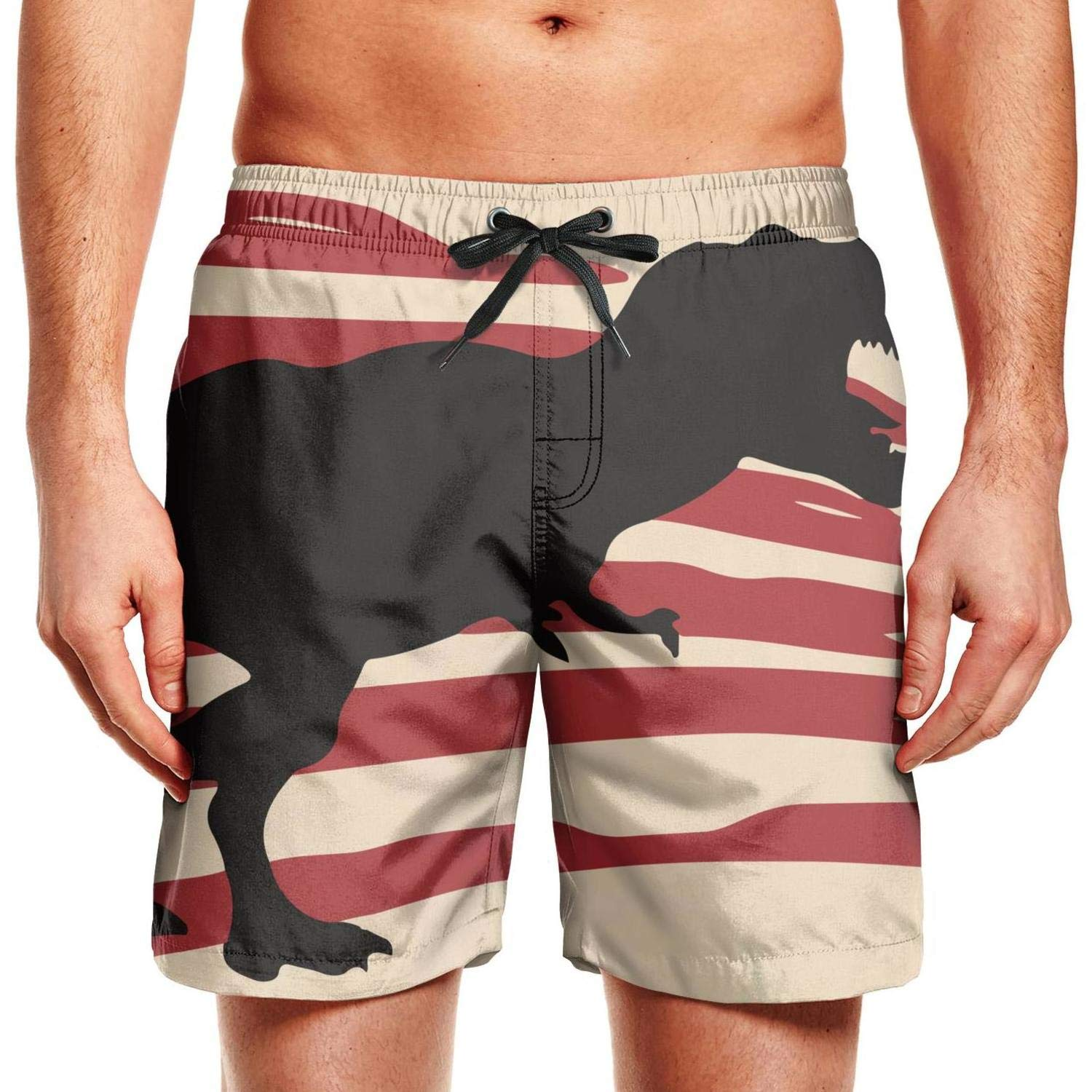 Quick-Dry Mens Beach Shorts Firefighter American Flag Swim Trunks with Adjustable Drawstring